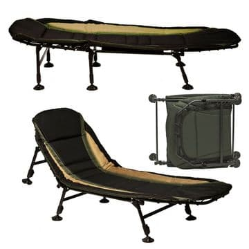 DELUXE FOLDING FISHING RECLINER BED CHAIR adjustable feet/legs and back camping